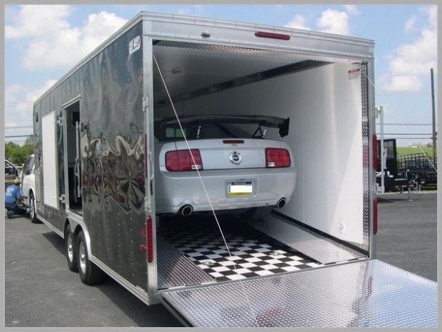 an enclosed car hauler