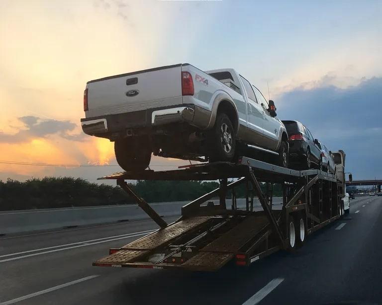 Vehicles Shipping Trailer Sunset Clouds Car hauler