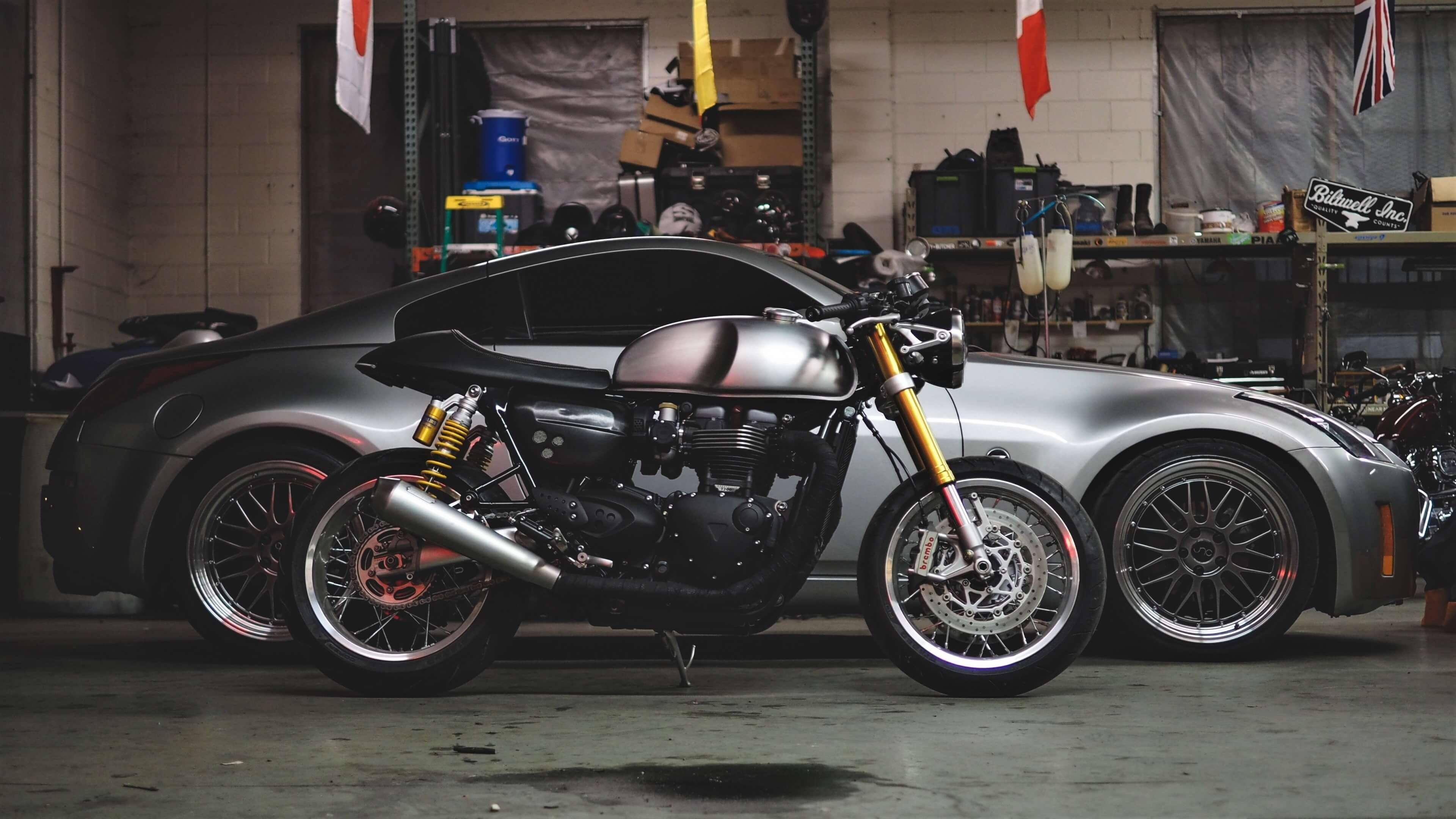 motorcycle vehicle silver garage shipping